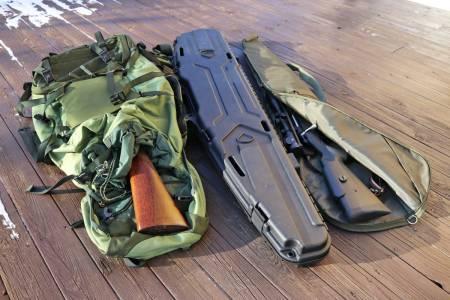Nedpakket: Våpen skal alltid transporteres nedpakket. Våpenkoffert, futteral eller rett og slett en koffert, ryggsekk eller bag gjør nytten.