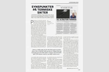 Faksimilie av leserinnlegg i JEGER nummer 1 / 2021