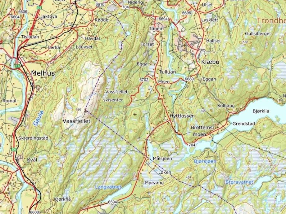 Bildet viser et kartutsnitt over Vassfjellet i Trøndelag.