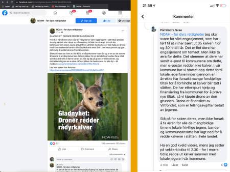 NOAH, Facebook, sletting av kommentarer