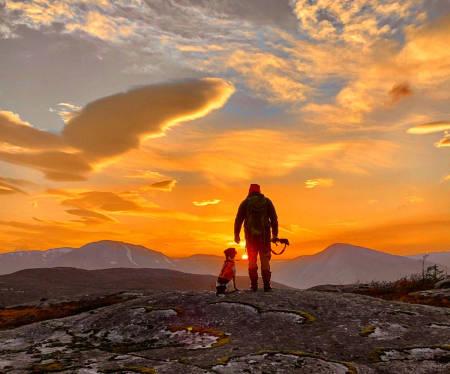 jaktbilde av jeger i solnedgang under rypejakt med fuglehund jakt bilde