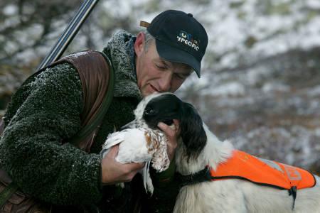 stående fuglehund hund engelsk setter hundefører rypejakte foto Åsgeir Størdal
