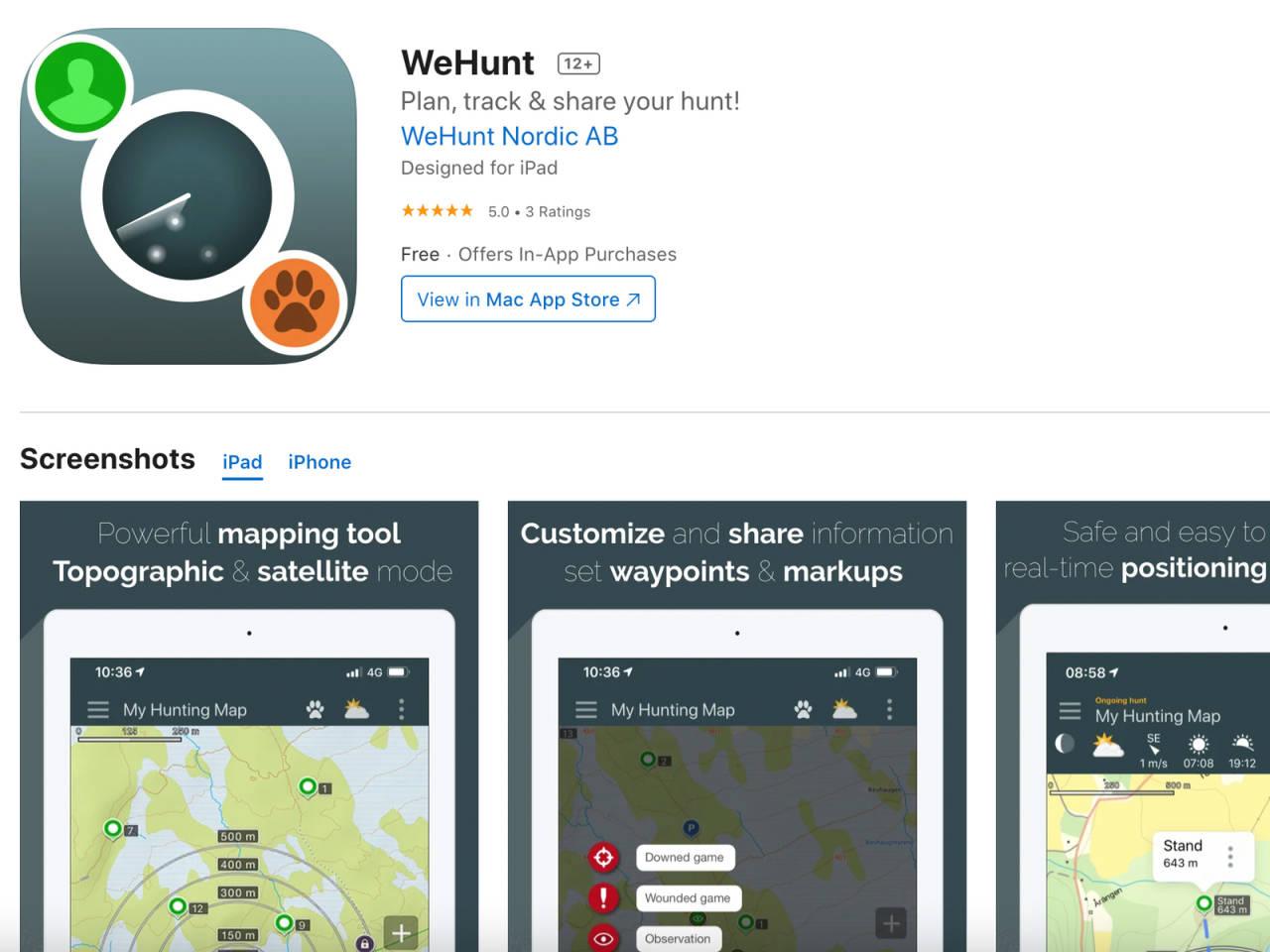 Bildet er en skjermdump av butikksiden til WeHunt-appen i AppStore. Foto: Skjermdump fra AppStore