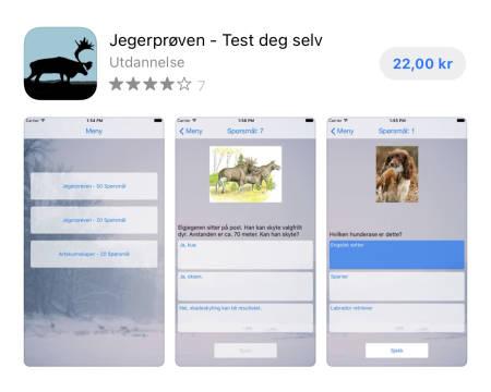 Skjermdump av butikksiden til appen Jegerprøven - Test deg selv i AppStore. Foto: Skjermdump fra AppStore