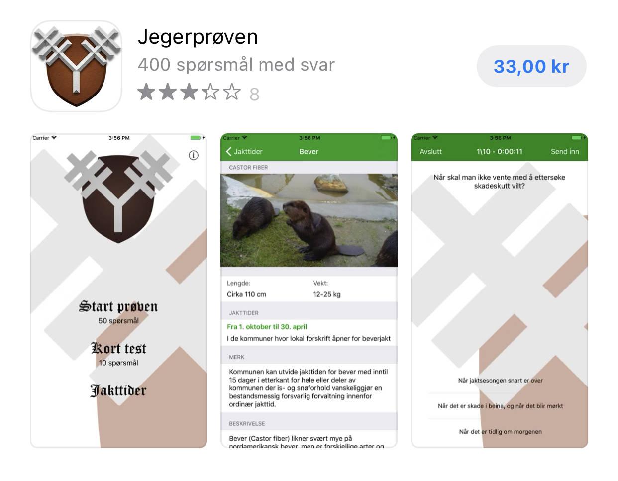 Skjermdump av kjøptssiden til appen Jegerprøven i AppStore.
