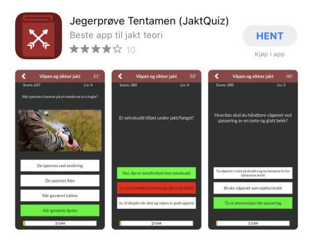 Skjermdump av butikksiden til appen Jegerprøvetentamen i AppStore. Foto: Skjermdump fra AppStore