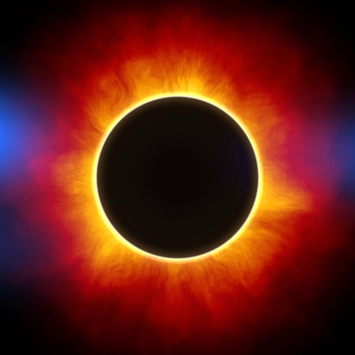 corona mørk måne med lys rundt